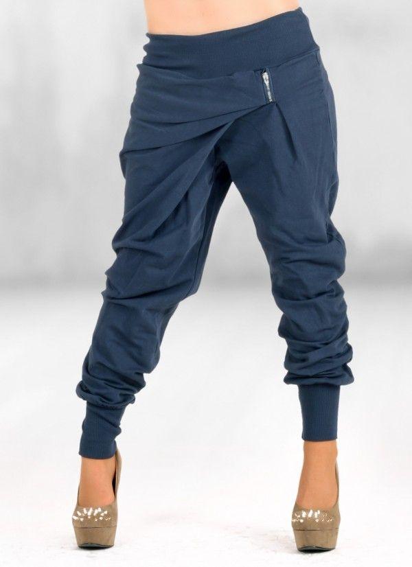 Pantaloni donna BAGGY URSULA tuta harem blu, pantaloni a cavallo, elegante - Tute