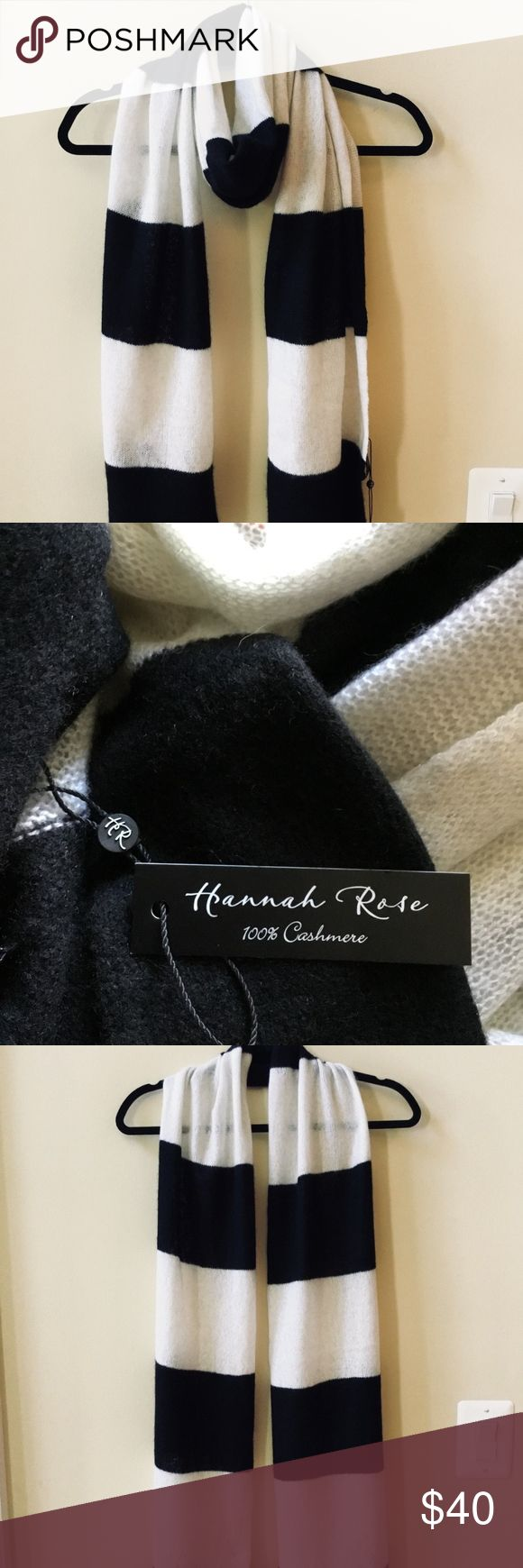 """Nwt Hannah Rose Black/Ivory 100% Cashmere Scarf NWT HANNAH ROSE SCARF BLACK/IVORY STRIPED  LENGTH: 72"""" WIDTH: 12"""" 100% CASHMERE HAND WASH WARM Hannah Rose Accessories Scarves & Wraps"""