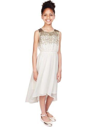 M&S Sequin Embellished Dress | 10 Adorable Flower Girl Dresses from the High Street - Wedding Blog | Ireland's top wedding blog with real weddings, wedding dresses, advice...