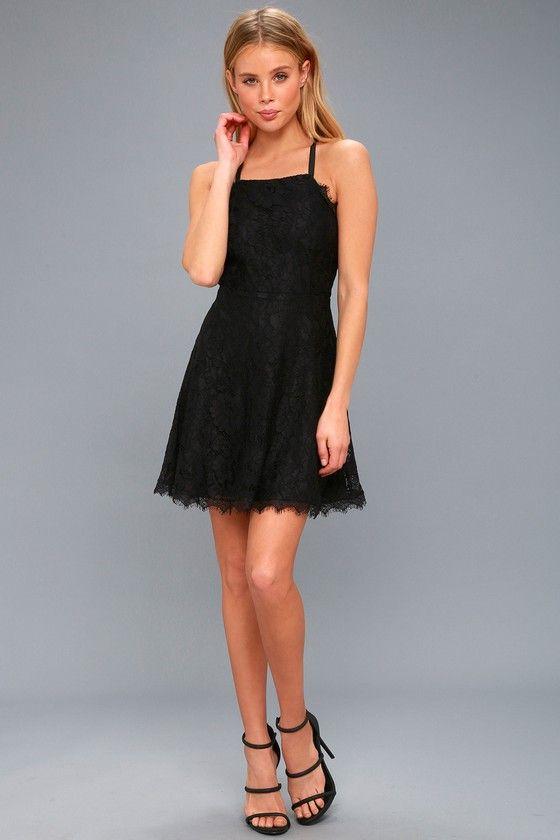 08c2394671 La Belle Vie Black Lace Backless Skater Dress in 2019