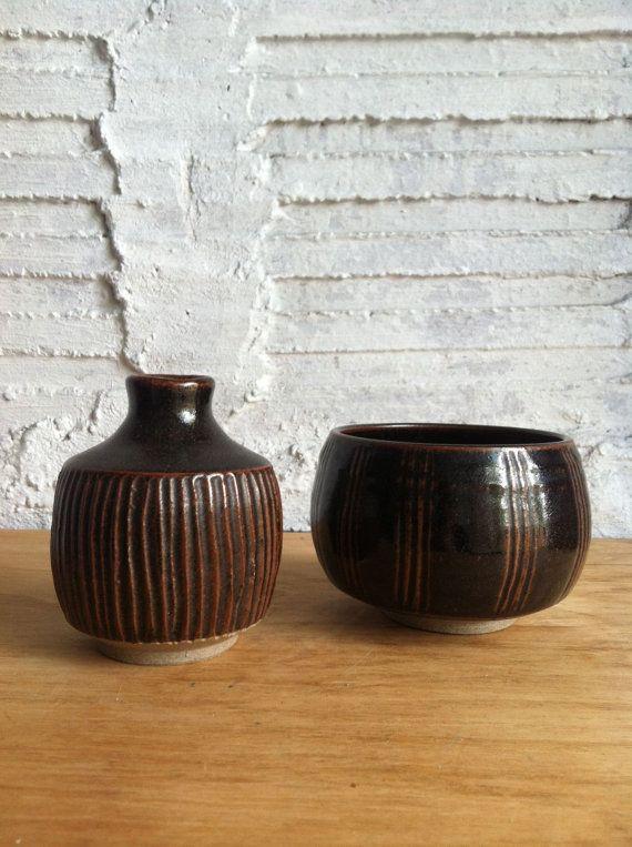 Brown Mid Century Modern Monk's Ceramic Bowl by thegeneralnorth