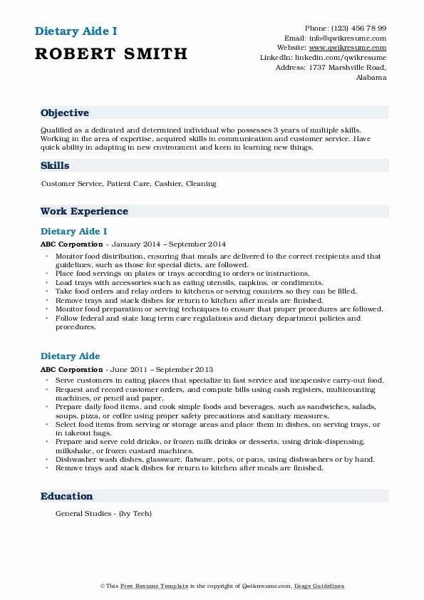 Dietary Aide Job Description Resume Awesome Dietary Aide Resume Samples In 2020 Teaching Assistant Job Description Dietary Aide Teaching Assistant Job