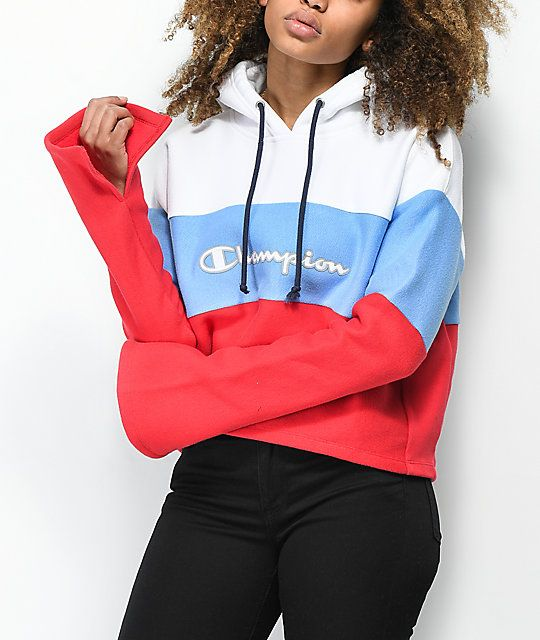 68005efac991f Champion Reverse Weave Red, White & Blue Crop Hoodie in 2019 ...