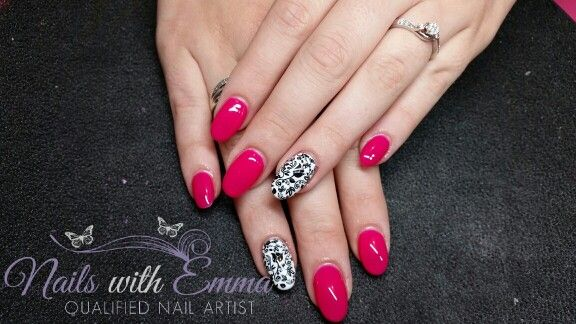 Acrylic Nails - Gel II Gel Polish - Rose & Damask Stamping