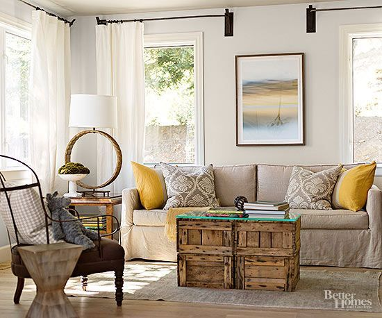 BHG Flea Market Chic-Crates, makes a unique & clever coffee table