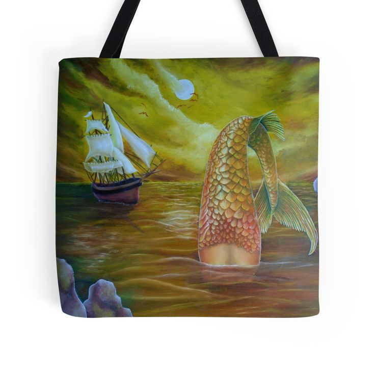 Tote Bag,   mermaid,yellow,gold,cool,beautiful,unique,trendy,artistic,unusual,accessories,for sale,design,items,products,ideas,redbubble