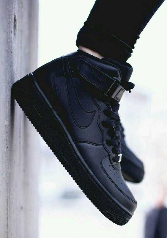 mid top all black air force ones