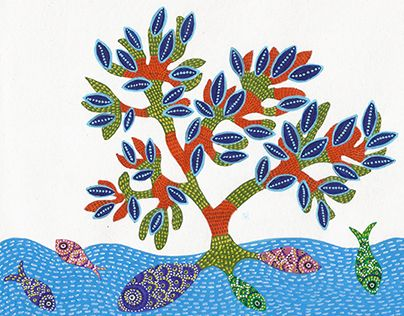 "Gond art - 6"" x 7.5"" acrylic on paper (Paintings inspired from folk art forms from different states of India done for a calendar)"