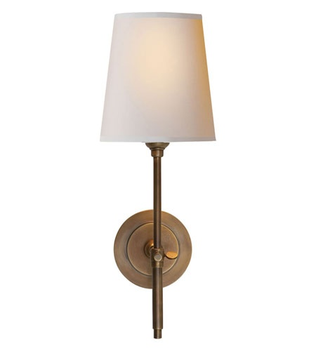 Visual Comfort Thomas OBrien Bryant Sconce in Hand-Rubbed Antique Brass with Natural Paper Shade TOB2002HAB-NP