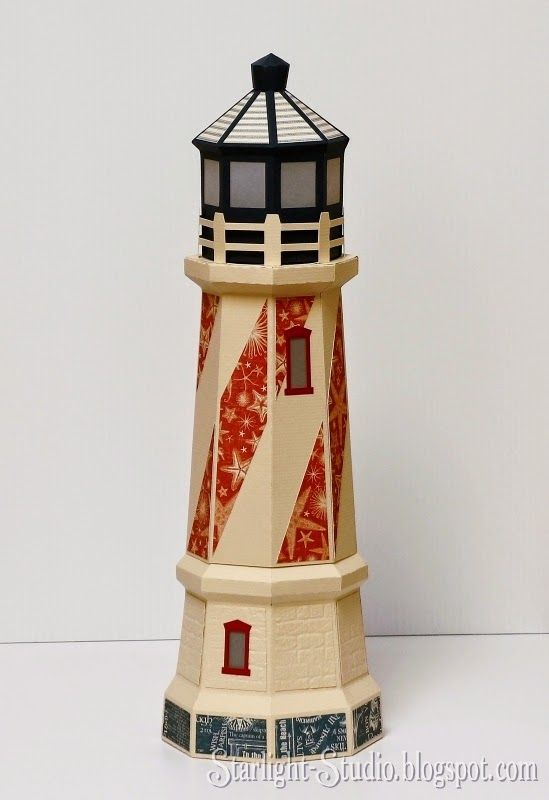 Denni's incredible paper lighthouse gift box luminary from SVGCuts #svgfiles #papercrafts