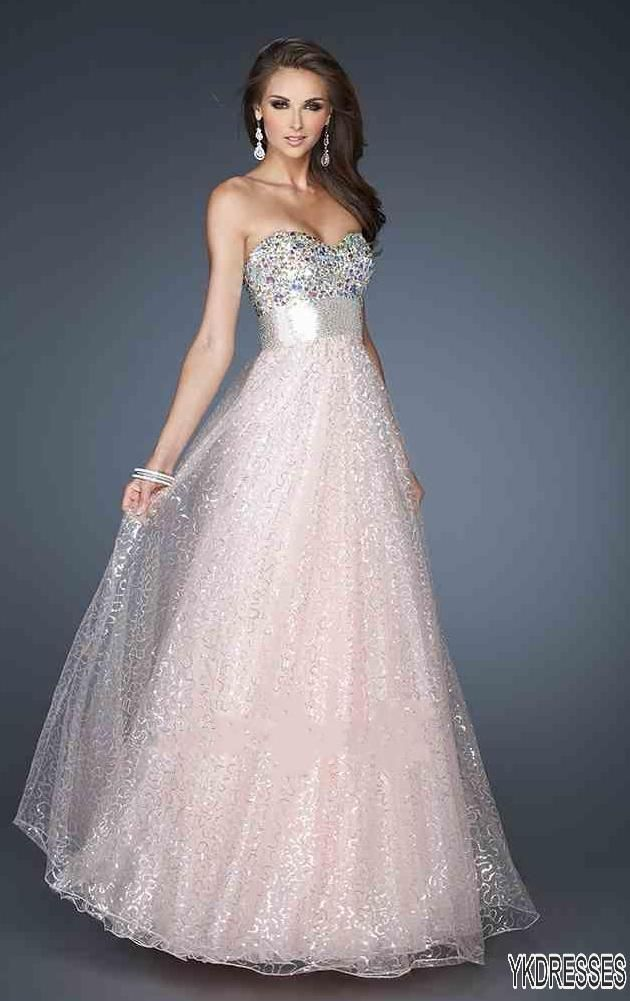 Long, pink, sparkly dress