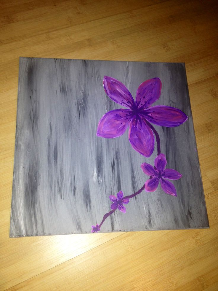 Flower diy painting canvas flower decor and more for Diy paint