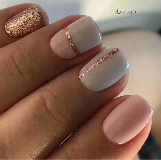 Grey, pink and rose gold glitter color block nails