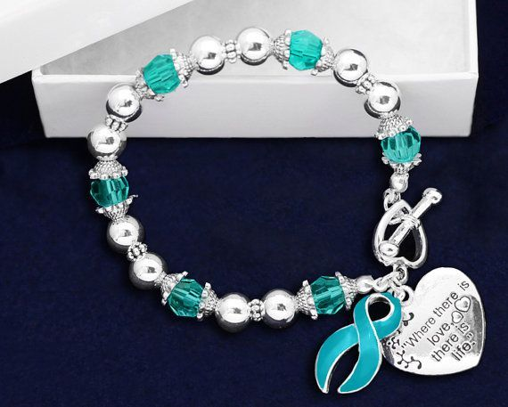 Teal Ribbon Bracelet - Where There Is Love (RE-B-01-3)