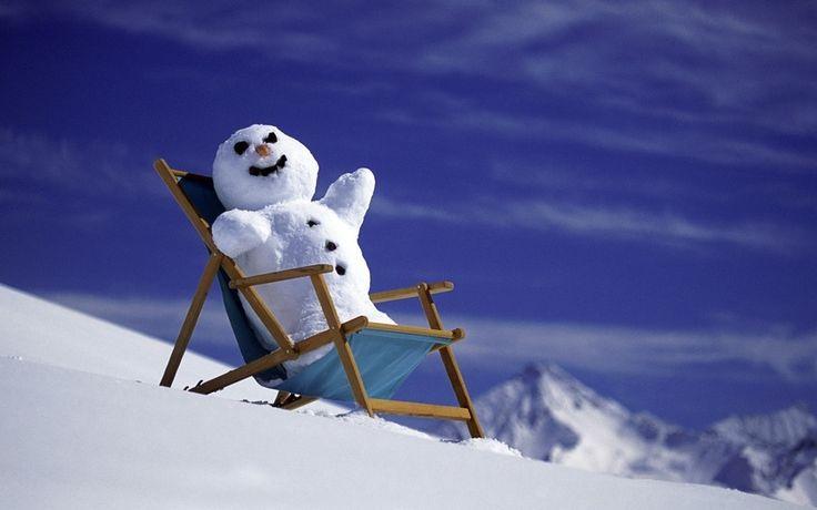 снег, новый год, снеговик, солнце, горы