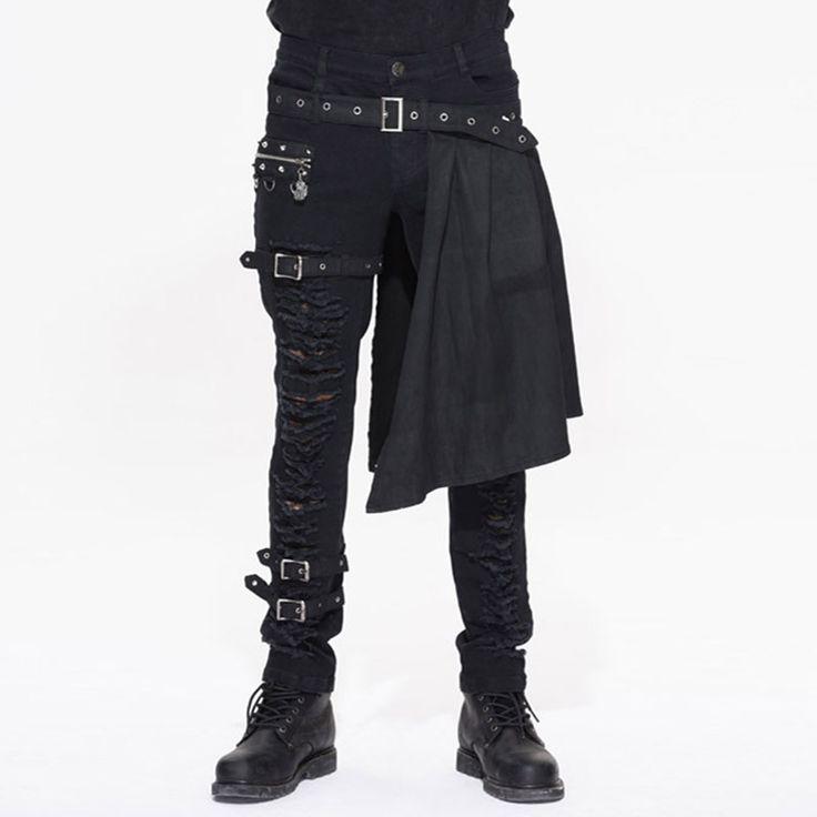 2017ゴシック岩男性グロメットレッグストラップロングパンツで取り外し可能なエプロンスチームパンクブラック男性ファッション潮綿穴ズボン(China (Mainland))
