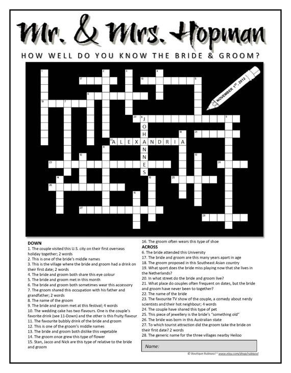 Personalized Wedding Crossword Puzzle. Use as a door rubiazul
