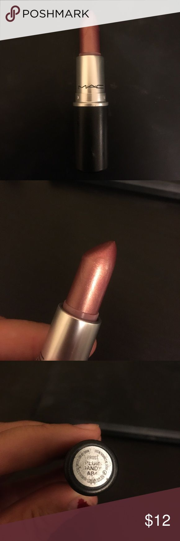 MAC Plum Dandy Lipstick MAC Plum Dandy Frost Lipstick. Beautiful frost light-Plum color with golden shimmer. Used once. Sanitized. MAC Cosmetics Makeup Lipstick