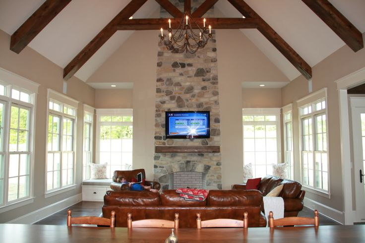 Grand Fireplace W Vaulted Ceilings Beams Open Floor: Fireplace, High Ceilings, Leather Couch Love