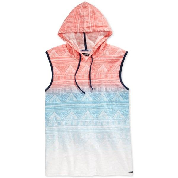 Univibe Men's Indigenous Ombre Tribal-Print Hoodie Muscle T-Shirt ($9.99) ❤ liked on Polyvore featuring men's fashion, men's clothing, men's shirts, men's t-shirts, white, mens muscle t shirts, mens sleeveless shirts, mens tribal print shirts, mens ombre shirt and mens leopard print t shirt