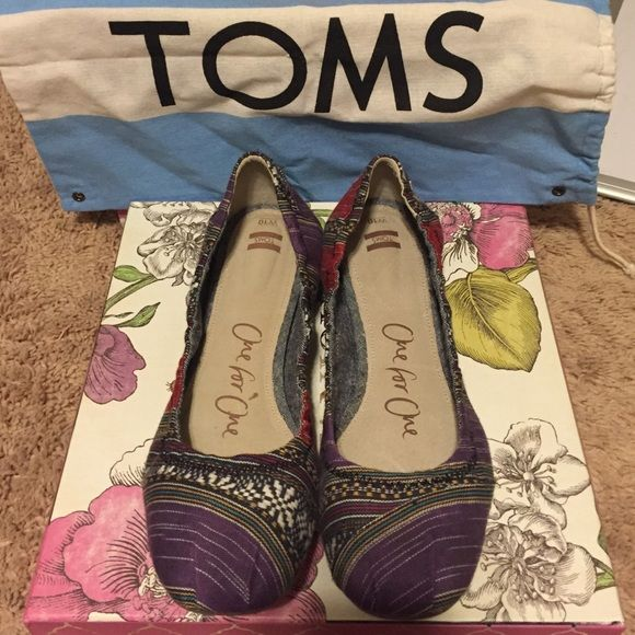 Hard to find Toms ballerina flats size 10! Only worn once, these are genuine Toms ballerina flats! Comes with original dust bag! TOMS Shoes