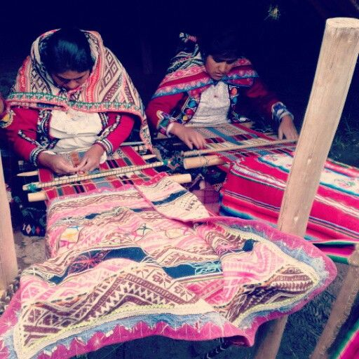 Locals weave with Alpaca yarn. They are artist with their fabrics.
