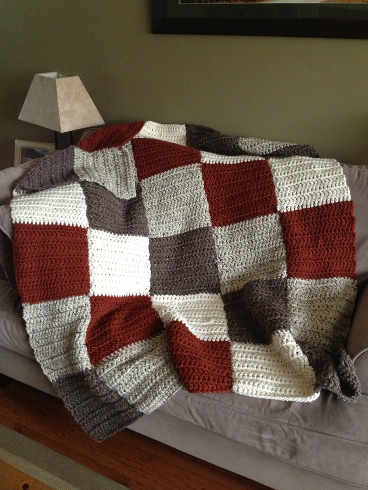 My crocheted patchwork blanket. Wool Ease, thick and Quick. Crafts Pinter...