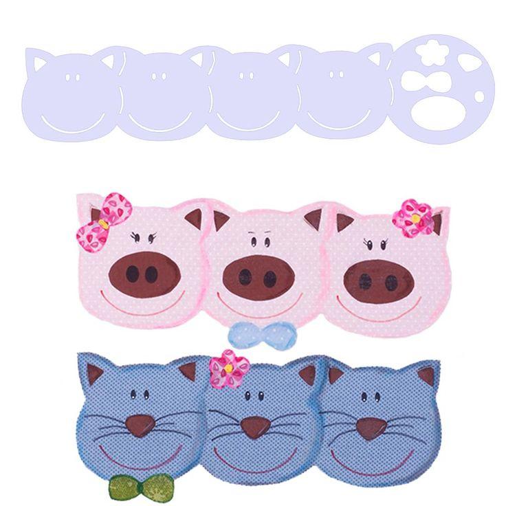 Régua Barrado Animais Isamara Custódio [gato/porco] | Vitrine do Artesanato - VitrineDoArtesanato