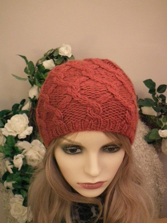 e4120896b38 Orange cable Knit Beanie  Womens Winter Hat  Wool