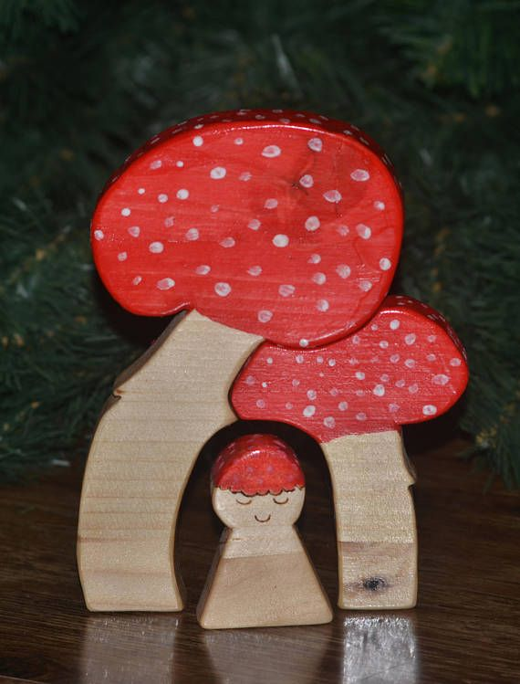 Waldorf Puzzle Wooden Toy Wooden Puzzle Mushrooms Birthday