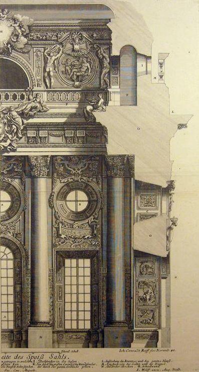 Paul Decker. ARCHITECTURE BAROQUE: MOITIE DE FACADE MONUMENTALE. Gravé par Conrad Reiff. Eau-forte. Publié à Augsbourg par P.Detleffsen pour J.Wolff. 1711