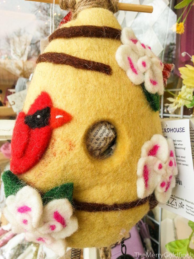 Wildwoolies- Felt Birdhouse- Cardinal #yarddecorations #birdhouses #wildwoolies #cute