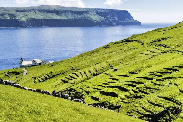 Typically charming fjordside Faroese church