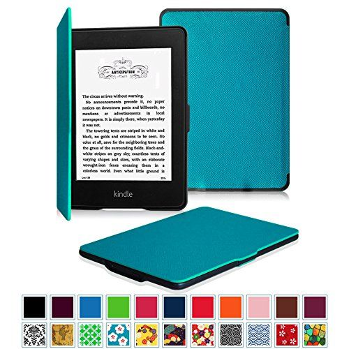 COLOR: Blue (teal) - Fintie Kindle Paperwhite SmartShell Case - The Thinnest and Lightest Leather Cover for All-New Amazon Kindle Paperwhite (Fits All versions: 2012, 2013, 2014 and 2015 New 300 PPI), Blue Fintie http://www.amazon.com/dp/B00IJPLMQO/ref=cm_sw_r_pi_dp_qruswb0FE1SDP