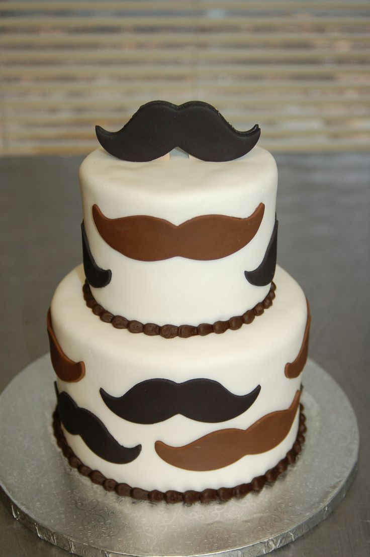 Mustache themed baby shower cake by Cake is the Best Part, Redding, CA