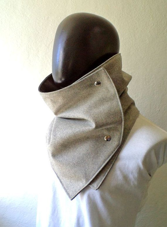 Men scarf Extra Wide Light grey wool with metalic by CheriDemeter, $32.50