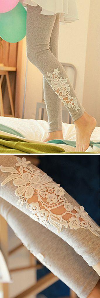 Grey Leggings with Floral Applique Cutout Detailing