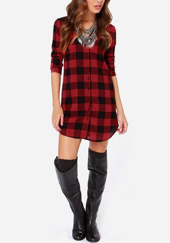 Plaid Flannel Tunic Shirt... I would wear it with black leggings, but i love the fact that this is a long shirt!
