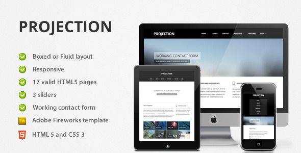 Projection is fully responsive template with minimal and elegant look.  Projection includes top quality HTML5 and CSS3 code.