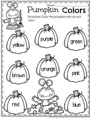 Pumpkin Preschool Color Worksheets for October.