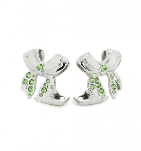 Miss Links 'Jessica' sterling silver bow cufflinks with peridot green crystals
