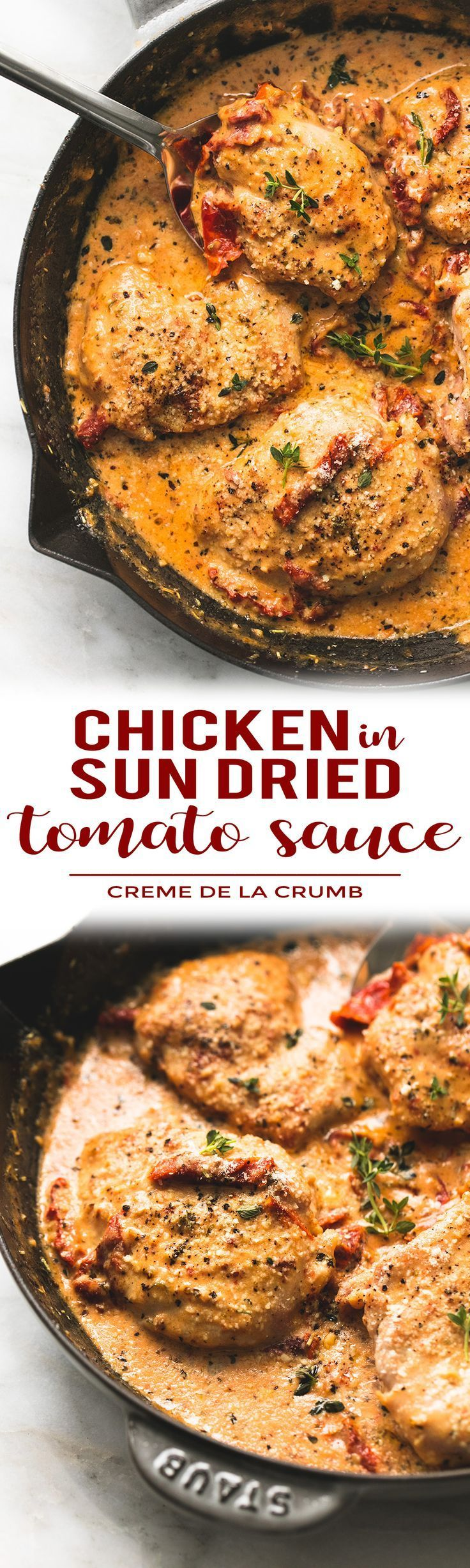 30 Minute Skillet Chicken in Creamy Sun Dried Tomato Sauce with parmesan, garlic, and fresh herbs.   lecremedelacrumb.com