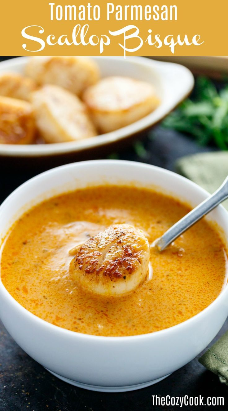 Rich and creamy Tomato Parmesan Bisque combined with perfectly seared Scallops for a truly decadant combination of flavors.