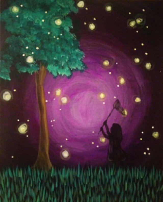 A nostalgic painting of a little girl catching fireflies.