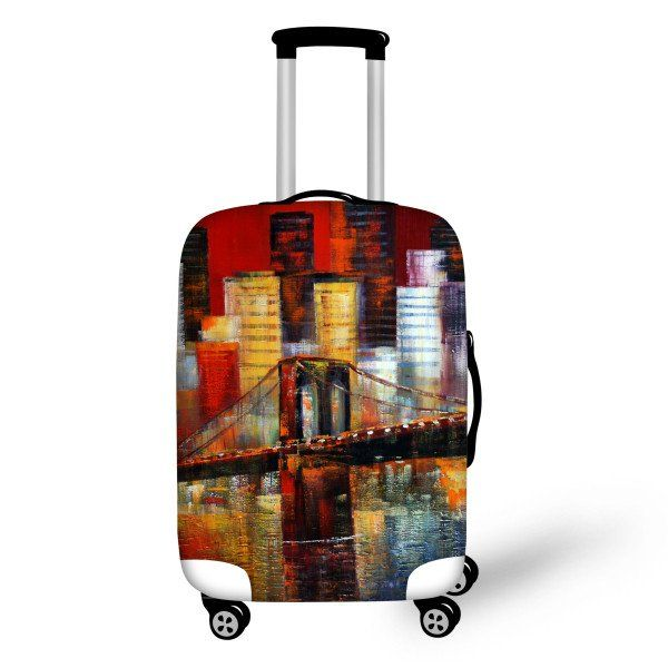 Painted Luggage Cover Brooklyn Bridge - FREE SHIPPING!