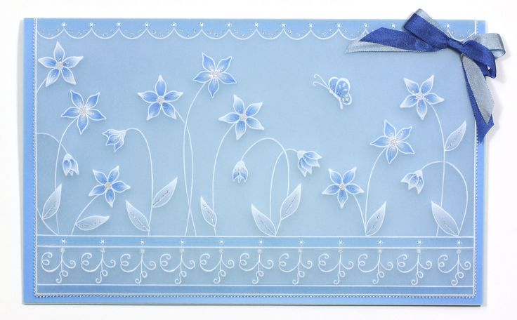 Beautiful baby blue floral card from Pergamano! Shop the full #craft range now: http://www.createandcraft.tv/search/pergamano?fh_location=//CreateAndCraft/en_GB/$s=pergamano&gs=pergamano #papercraft