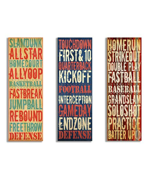 Look at this #zulilyfind! Sports Trio Typography Wall Art Set by The Kids Room by Stupell #zulilyfinds