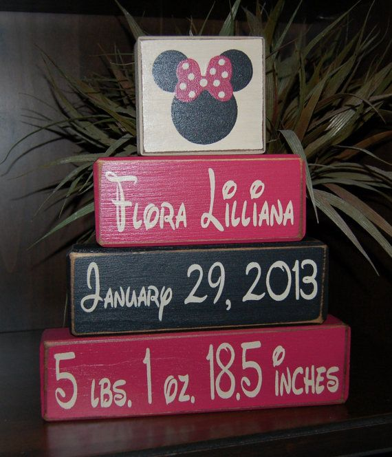 Minnie Mouse Personalized Happy BIRTHDAY Date Of Birth Primitive Wood Block Sign via Etsy
