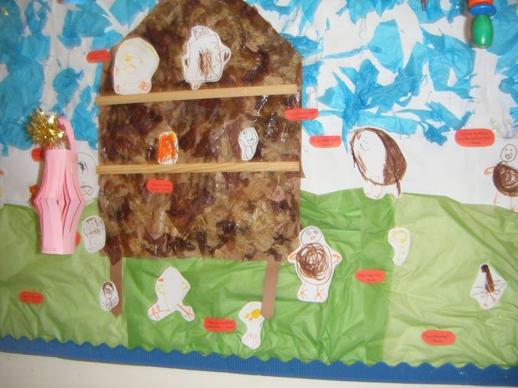 We had 'living eggs' in school that hatched - the children made the background, the hen house and drew pictures of chicks and hens for this display