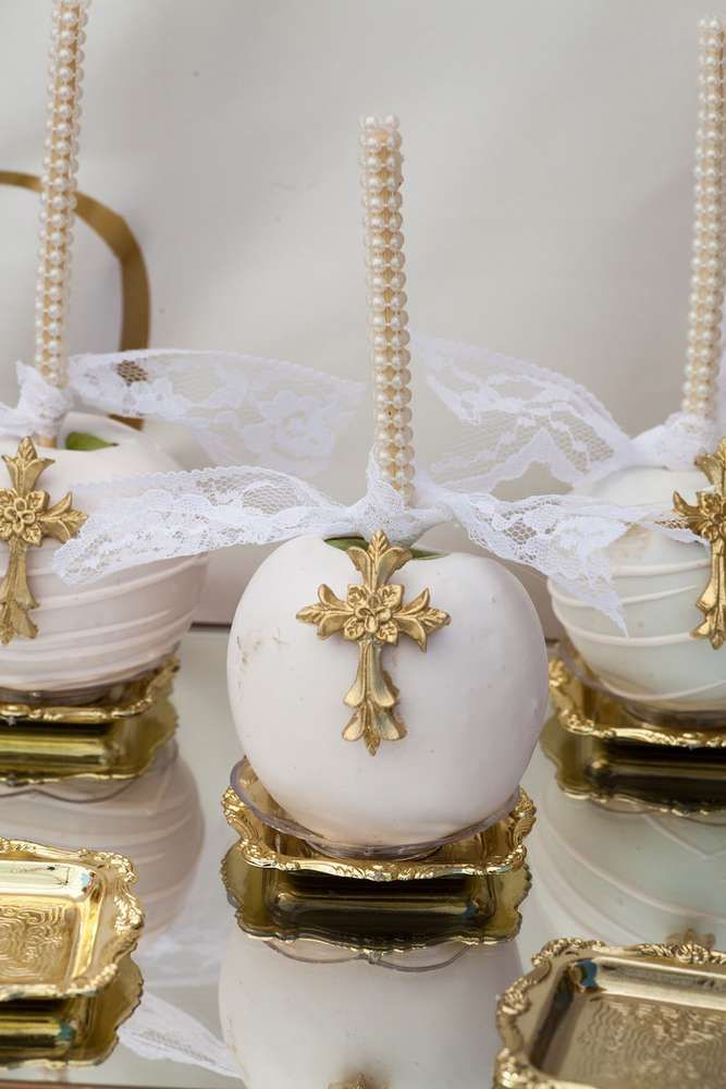 Candy apples at a pink and gold baptism party! See more party ideas at CatchMyParty.com!